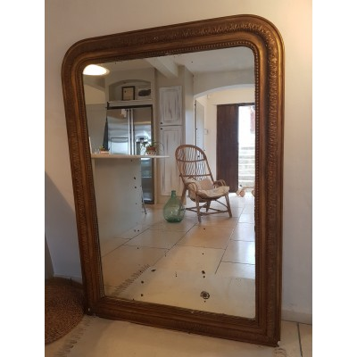 Grand miroir ancien doré - 141 x 61