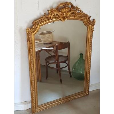 Miroir ancien doré avec fronton style Napoléon III