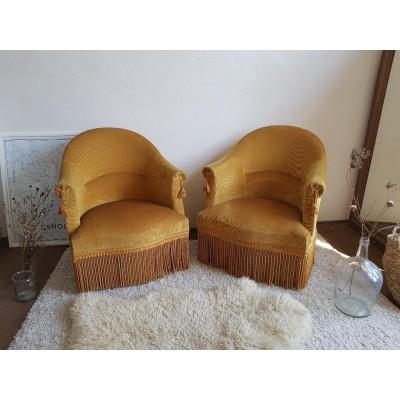 Paire de petits fauteuils crapauds