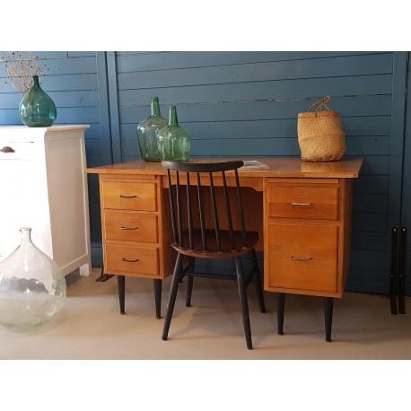 Bureau années 60 en bois et métal