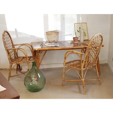 Table rotin et osier - carrelage - vintage- 1960