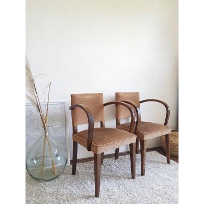 Paire de fauteuils Bridge vintage