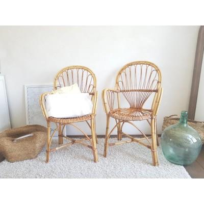 Paire de fauteuils en rotin et osier vintage