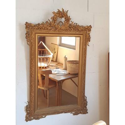 Miroir ancien doré 138 x 81  style Louis XV