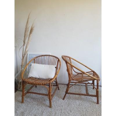Paire de fauteuils corbeille en rotin vintage