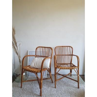 Paire de fauteuils en rotin vintage DLG Audoux -Minet