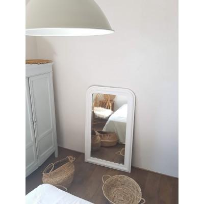 Miroir ancien blanc 120x71cm de style Louis Philippe