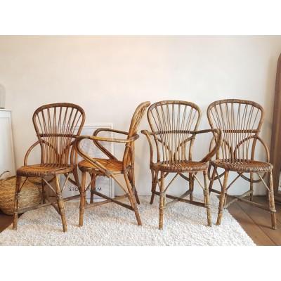 2 chaises et 2 fauteuils par A.Audoux et F. Minet circa 1950 - rotin et osier