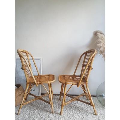 Paire de chaises en rotin vintage