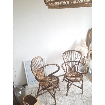 Paire de fauteuils en rotin vintage Audoux -Minet