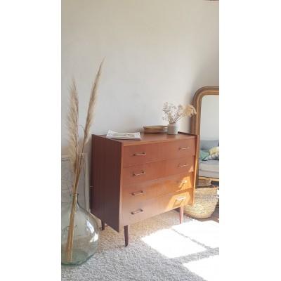 Commode vintage circa années 70 - 4 tiroirs