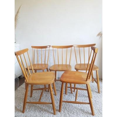 Suite de 4 ou 5 chaises scandinaves Hagafors vintage