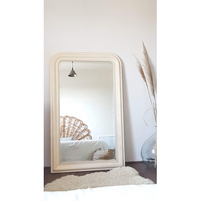 Grand miroir Louis Philippe ancien blanc cassé 142x 88