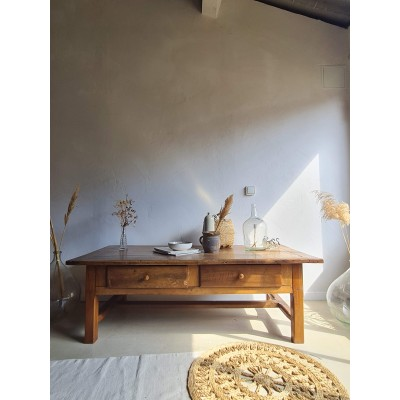 Table basse ancienne esprit table de ferme vintage