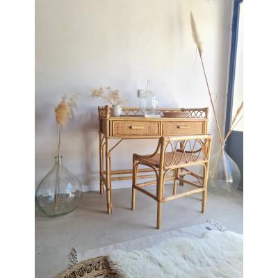 Bureau et sa chaise en rotin vintage
