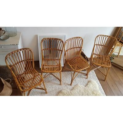 Suite de 4 chaises en rotin vintage
