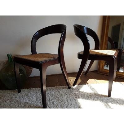 Suite de 4 chaises scandinaves  cannées - circa 1960
